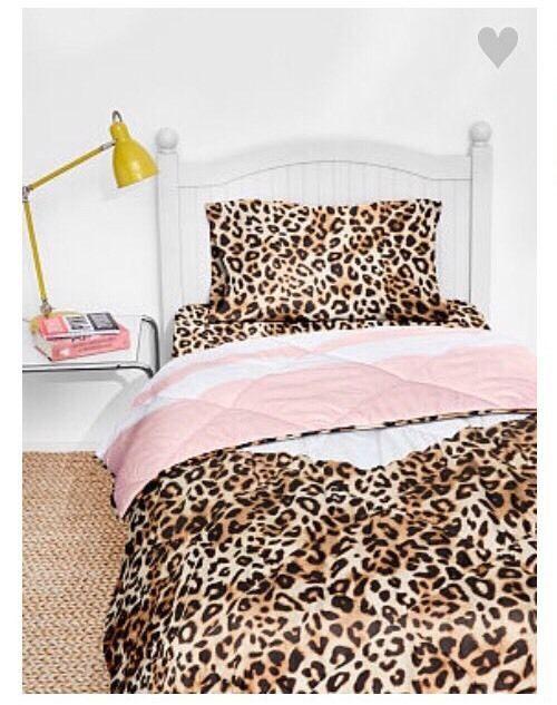 TWIN XL Victorias Secret PINK Bed in a Bag Comforter Sheet Leopard Cheetah  | eBay