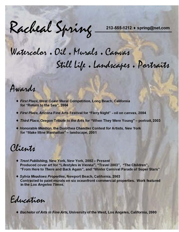 artistsu0027 resume sample - Google Search ReSuMe Pinterest - example of artist resume