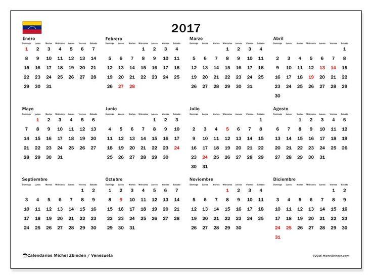 Gratis! Calendarios para  2017 para imprimir - Venezuela