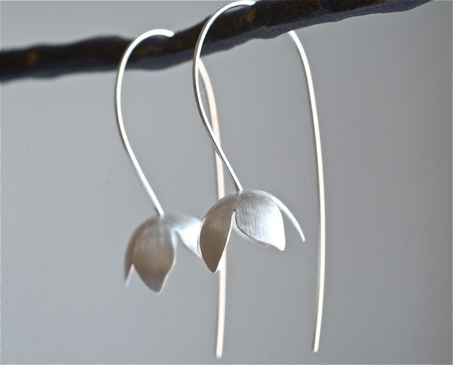 Stunning... Sterling Bell Flower Earrings by Kathi Roussel on Etsy.