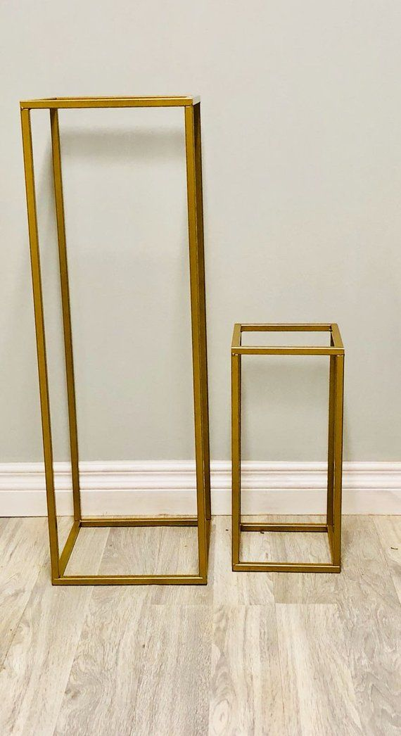 24 32 40 Modern Rectangle Stand Metal Gold Geometric Vase Metal