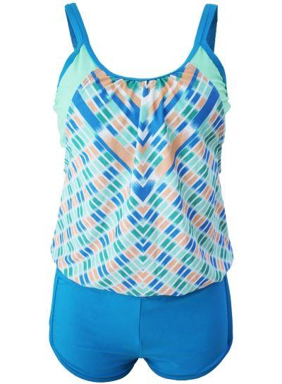 Women's Printed Layered-Style Blue Tankini with Swim Trunks