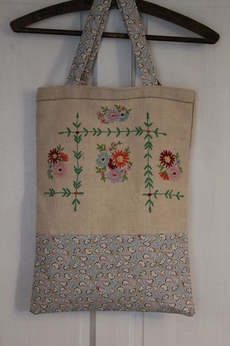 Repurposed Embroidered Tote