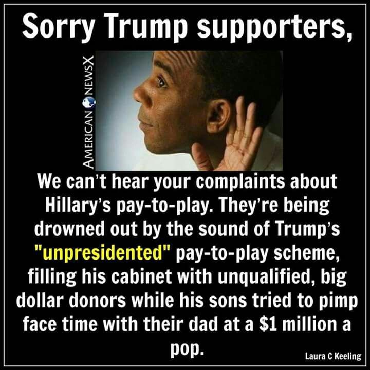 Greedy and Corrupt of Crooked pervert Donnie + the swamp scum #NotMyPresident