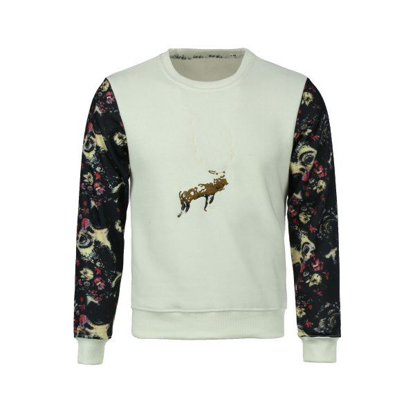 Round Neck Space Print Spliced Elk Embroidered Long Sleeve Men's Sweatshirt #CLICK! #clothing, #shoes, #jewelry, #women, #men, #hats