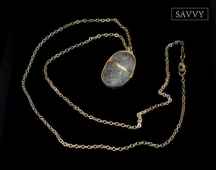 Necklace  Natural stone // brass SAVVY jewellery, Poland  https://www.facebook.com/SAVVYjewellery
