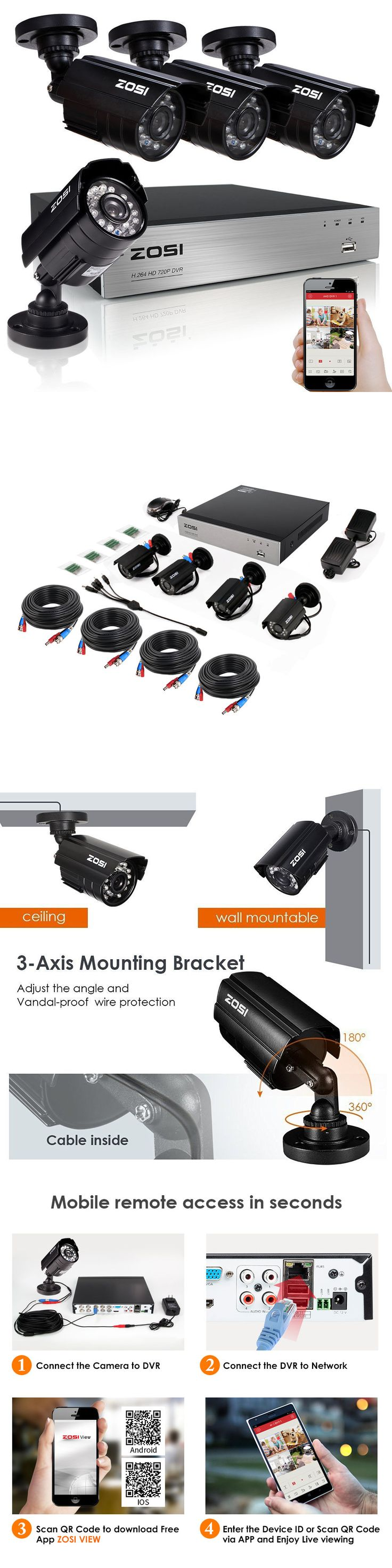 Surveillance Security Systems: Zosi Hd 720P 4Ch Hdmi Dvr 1500Tvl Outdoor Ir Cctv Home Security Cameras System BUY IT NOW ONLY: $85.99