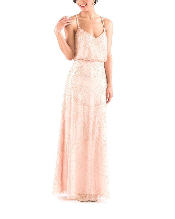 The Perfect Beaded Blush Bridesmaid Dress Adrianna Papell Art Deco Beaded Blouson Bridesmaid