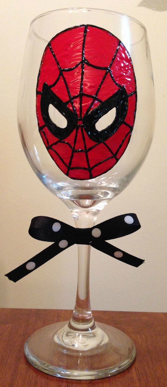 Spiderman hand painted wine glass 530 best Glass