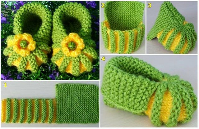 Knitted Baby Booties - DIY