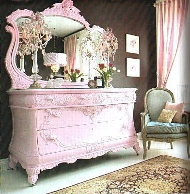 Pink Shabby Chic Dresser. am not completely in love with the color ._. i was thinking like tiffany blue? #shabbychicdresserscolors