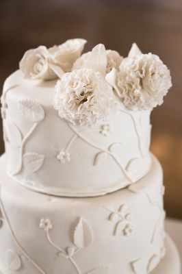 Gorgeous, simple white wedding cake. 3 tiers.