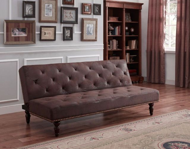 Chaise Lounge Sofa  Seater Click Clack Sofa Bed Brown Faux Suede Victorian Vintage Antique Style