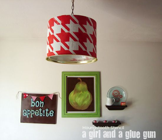 Stencil a lamp shade using the Houndstooth Stencil from Cutting Edge Stencils! http://www.cuttingedgestencils.com/houndstooth-craft-stencil-pattern-DIY-decor.html