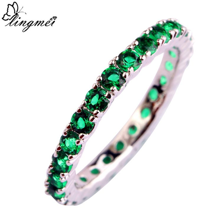 lingmei New Jewelry Round Cut AAA Cubic Zirconia Silver Ring For Women Size 6 7  8 9 10 11 12 13 Romantic Love Style Wholesale