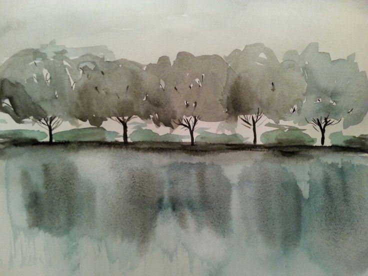 Aquarel bomen aan het water