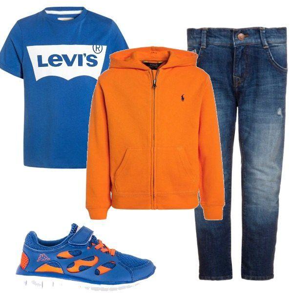 Per questo outfit: maglietta maniche corte Levi's turchese, felpa con cappuccio e zip arancione, jeans blu scuro effetto délavé e sneakers bicolore turchese e arancione.