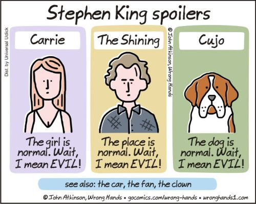 I don't read Stephen King, but I found this hilarious.