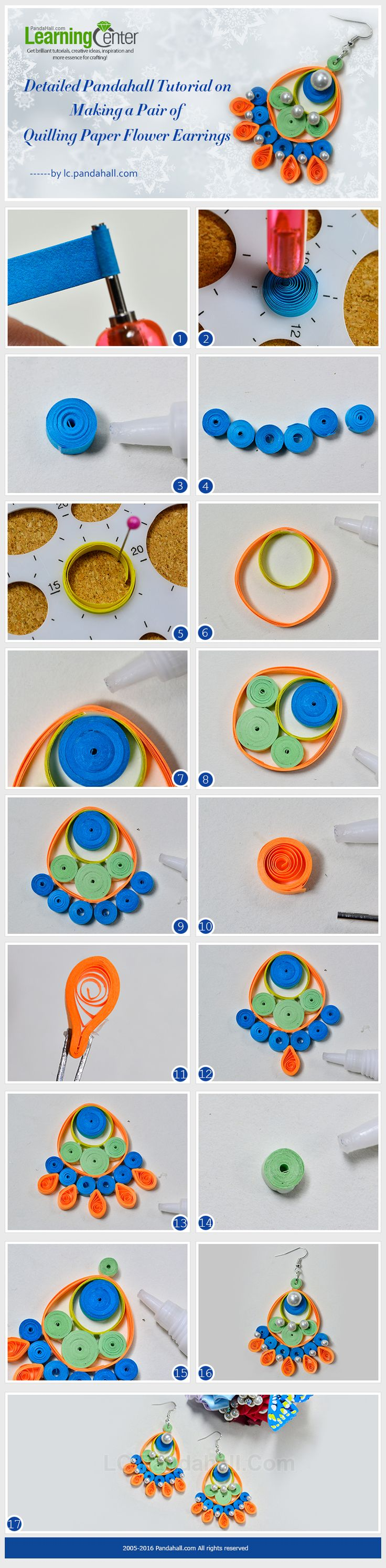 Tutorial for quilling paper earring from LC.Pandahall.com