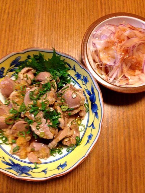 砂肝、ゆりちゃん追い!美味しかったぁ~(o^^o) - 102件のもぐもぐ - 砂肝ポン酢、オニスラ by kamasann