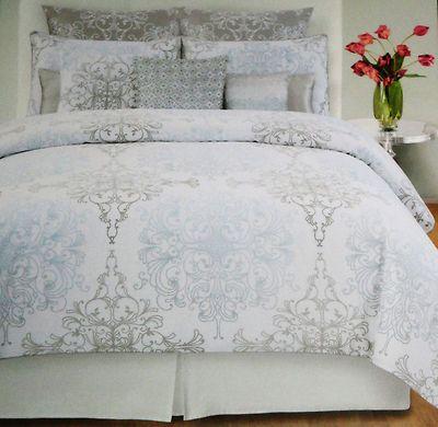 Tahari Home Grey Blue Damask Scroll Full Queen 3pc Duvet