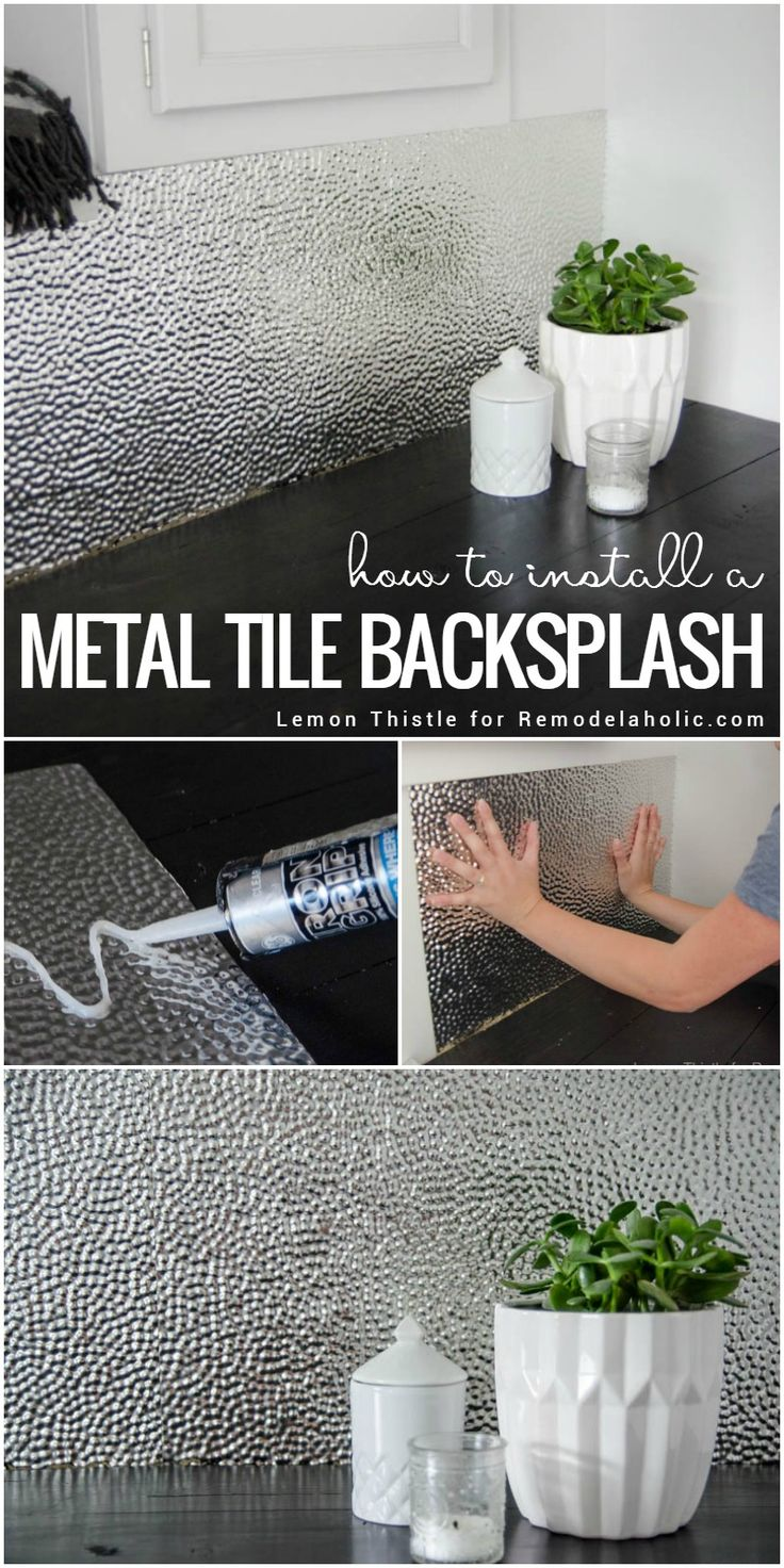 Learn how to install a unique and modern (but easy to clean!) metal ceiling tile backsplash for a laundry room or kitchen. Tip #1: It's all about using the right adhesive!