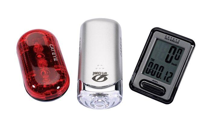 CatEye Headlight, Tail Light, and Bike Computer Set