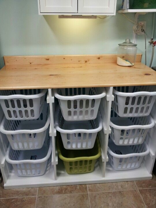 "Awesome 9-basket laundry basket ""dresser""! I would use this idea for my toy room as well!"