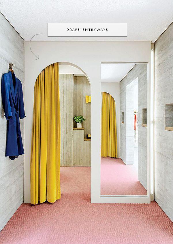 love this archway cutout to hide drapery poles | via coco+kelley