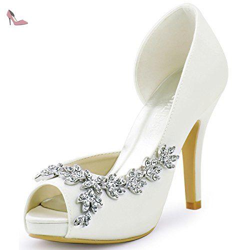 Elegantpark EP2053 Femme Bout Ouvert Satin Strass Plates Chaussures de Soirée Mariée Violet EU 37 ZYOAo