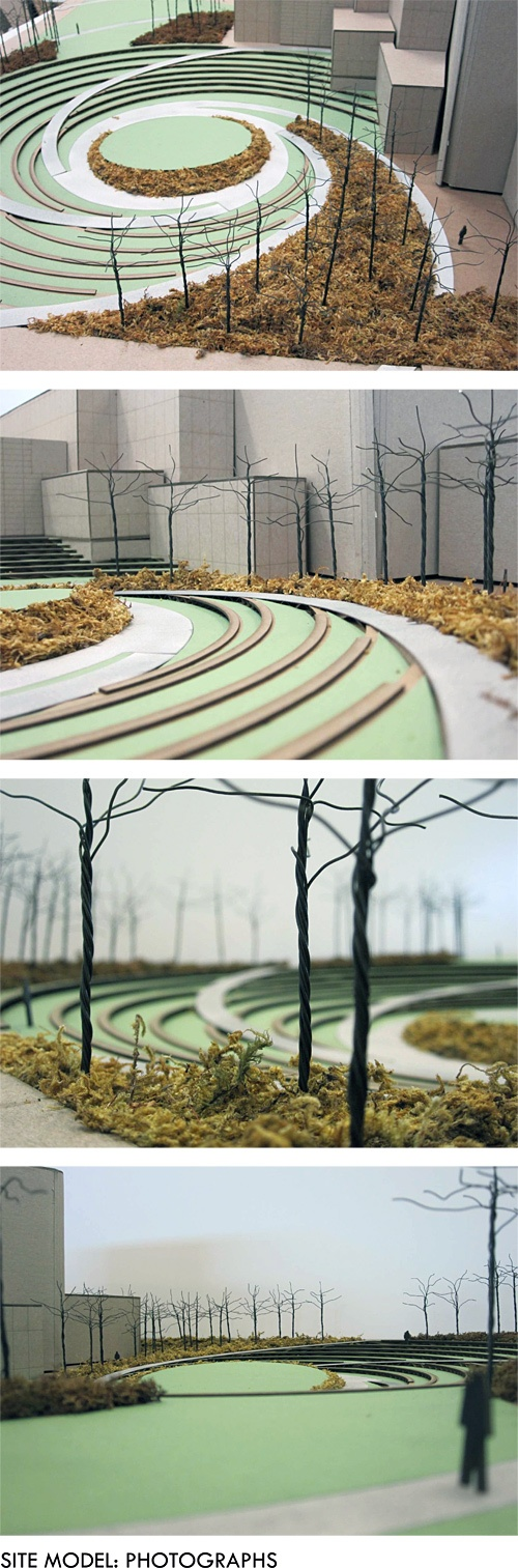 """#IIT College of Architecture Student Project by Writer Clayton, """"Peavey Plaza Redevelopment"""" (plaza located in Minneapolis, MN). Photographs of site model"""