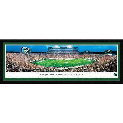 BlakewayPanoramas NCAA Michigan State University - Football 50 Yd by James Blakeway Framed Photographic Print