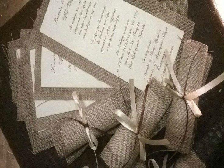 Προσκλητήριο Γάμου απο ύφασμα Λινάτσα