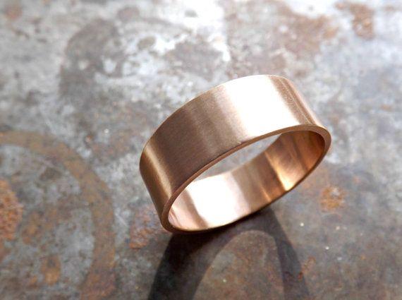 Elegant Bronze Ring Flat Band Personalized Mens Ring