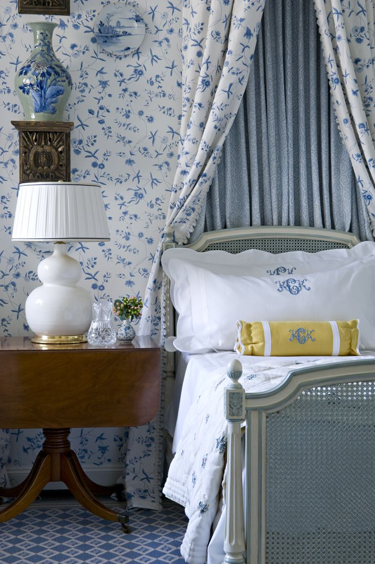 White curtain wallpaper - Pretty Blue And White Wallpaper And Matching Bed Curtains With A Pop Of Yellow Beautiful Mahogany Drop Leaf Table Used As Nigh Stand And Chinese Import Lam
