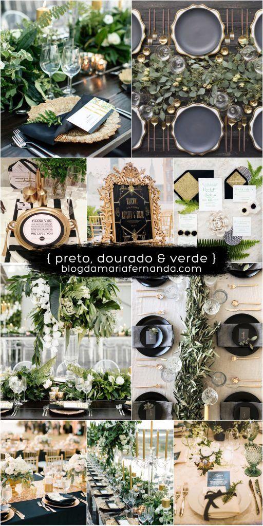 Decoração de Casamento : Paleta de Cores Preto Dourado e Verde