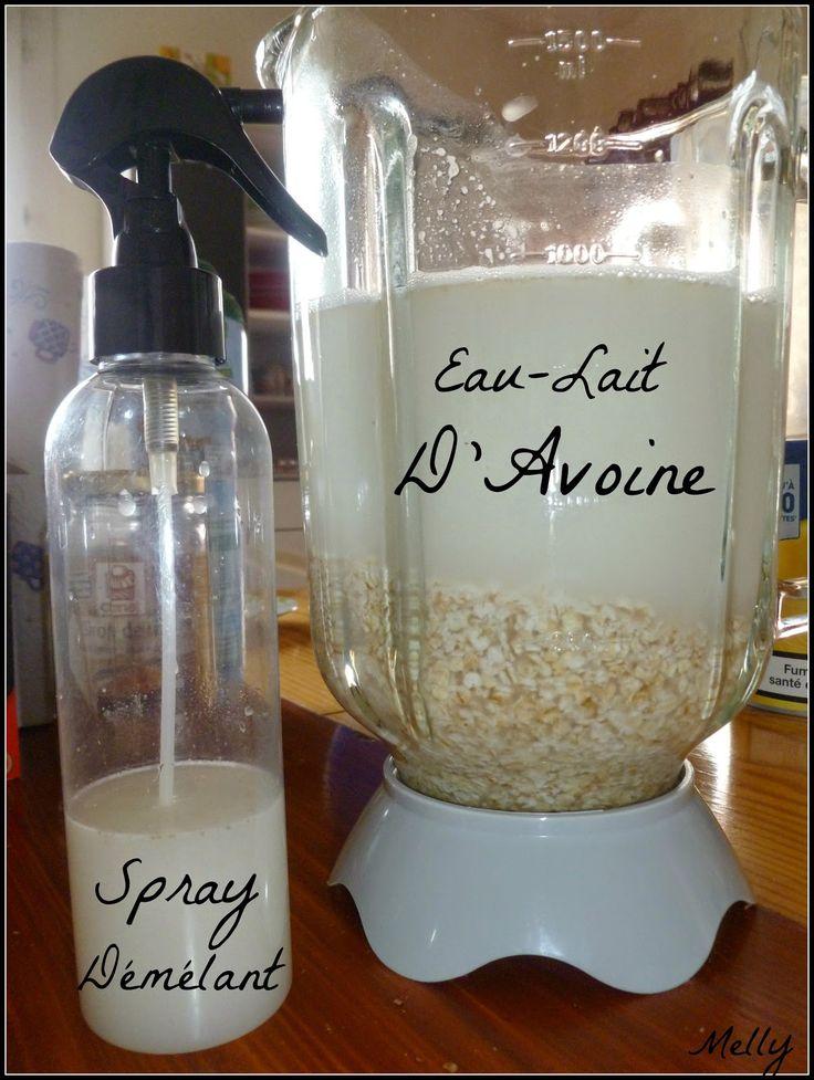 Le carnet de Melly: Les différentes techniques: Rinçage, séchage et coiffage du cheveu Démêleet faitbriller le cheveu. Faîtes le vous même (100g de flocons d'avoinepour1Ld'eau minérale.Mélangeravec une cuillère en bois, laissez redescendre les flocons etrécupérer juste l'eaud'avoine dansun vaporisateur)Appliquez sur cheveu humideet peignez.  Ma recette directement inspirée : 25g flocons avoine ☆ 200ml eau de source ☆ 20g vinaigre de cidre