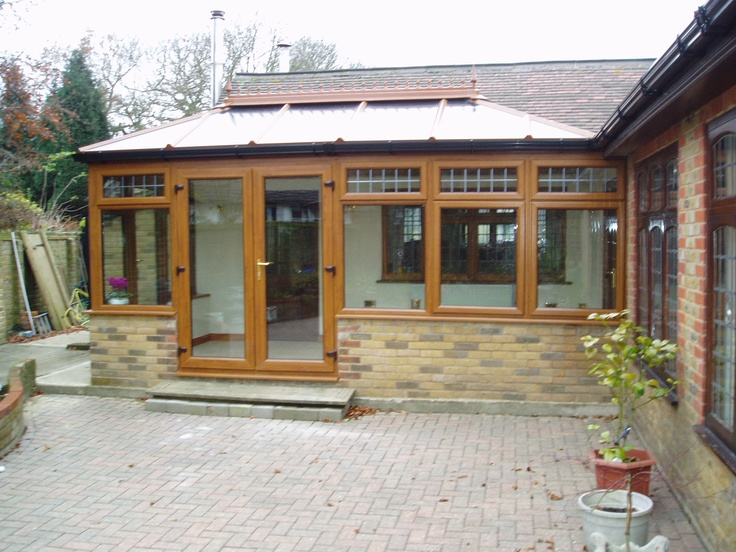 2 sided diy edwardian conservatory in golden oak pvcu with for Adding a conservatory