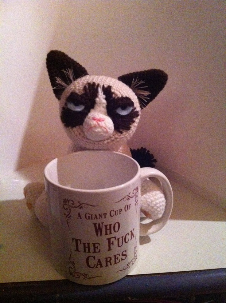 Crocheted Grumpy Cat and her giant cup of who the fuck cares