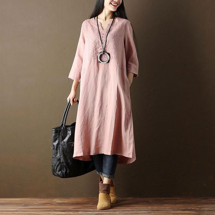 Embroidered Casual V Neck Women Linen Pink Dress