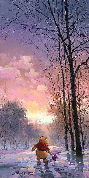 Rodel Gonzalez - Winnie the Pooh - Snowy Path - Piglet - Original - world-wide-art.com