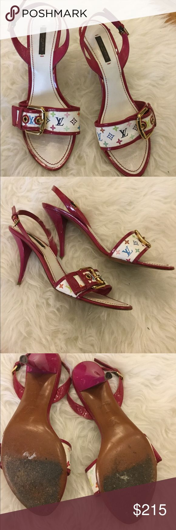 Louis Vuitton murakami heels Lv murakami heels with gold hardware, so many colors you can wear with these. Condition shown in pics! Size 40 Louis Vuitton Shoes Heels