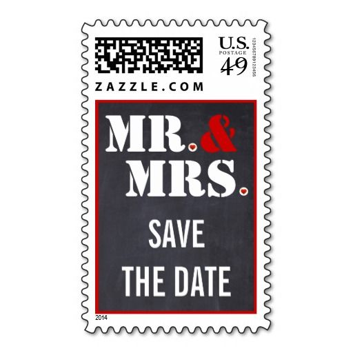 Mr. and Mrs. modern typography wedding Save the Date Postage Stamps. #mrandmrs, #typography, #SavetheDate, #postagestamp, #wedding