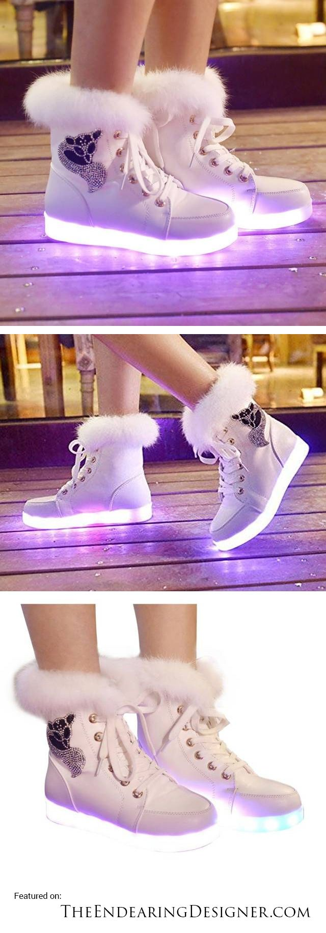 Furry Warm Winter Boots That Light Up // 10 LED Shoes That Light Up At The Bottom And Change Colors Like Crazy [http://theendearingdesigner.com/10-led-shoes-that-light-up-at-the-bottom-and-change-colors-men-women/]