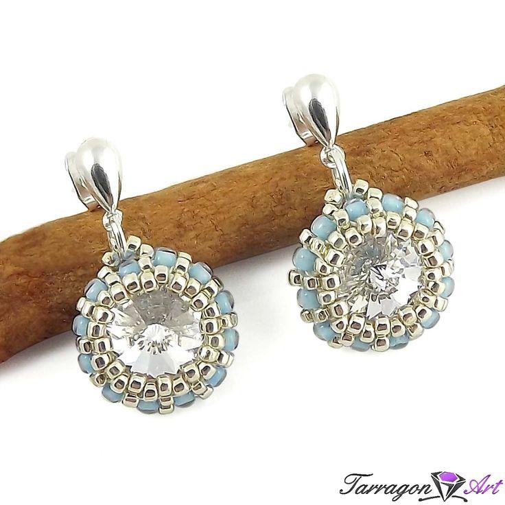 Kolczyki Beaded Swarovski Elements - Crystal & Ice Blue - Beaded / Kolczyki - Tarragon Art - stylowa biżuteria artystyczna