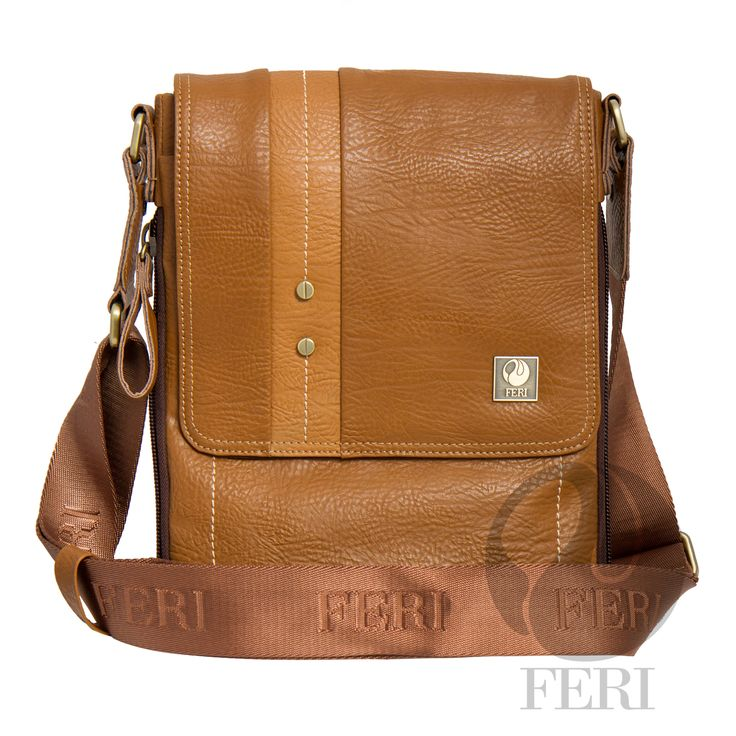 """Albert Murse – Tan – C$890 http://bit.ly/1KvK0ZY - Camel color leather with tan trim- Dimension: 12.99"""" x 10.24"""" x 2"""" - Customized FERI Lining - Adjustable nylon shoulder strap with FERI Embossed - Zip closure with double zip puller - Front flat pocket with snap closure and front zip pocket - Interior zip pocket - Tablet padding"""