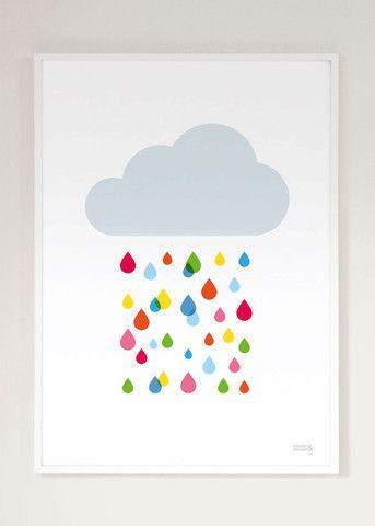Quince Living - Showler & Showler Multicoloured Rain Drop Cloud Art Print | Art Prints and Childrens | Quince Living