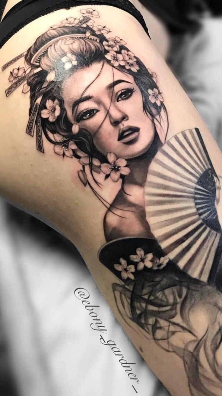 Geisha girl sleeve tattoo by jedidia