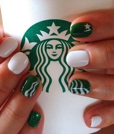 Starbucks Nails! I'm in love. @Ashleigh {bee in our bonnet} Mullins lets just be really bandwagon and get our nails done like this one day AND get Starbucks!