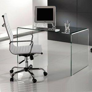 CURVED CLEAR GLASS DESK BENT GLASS DESK OFFICE GLASS | eBay
